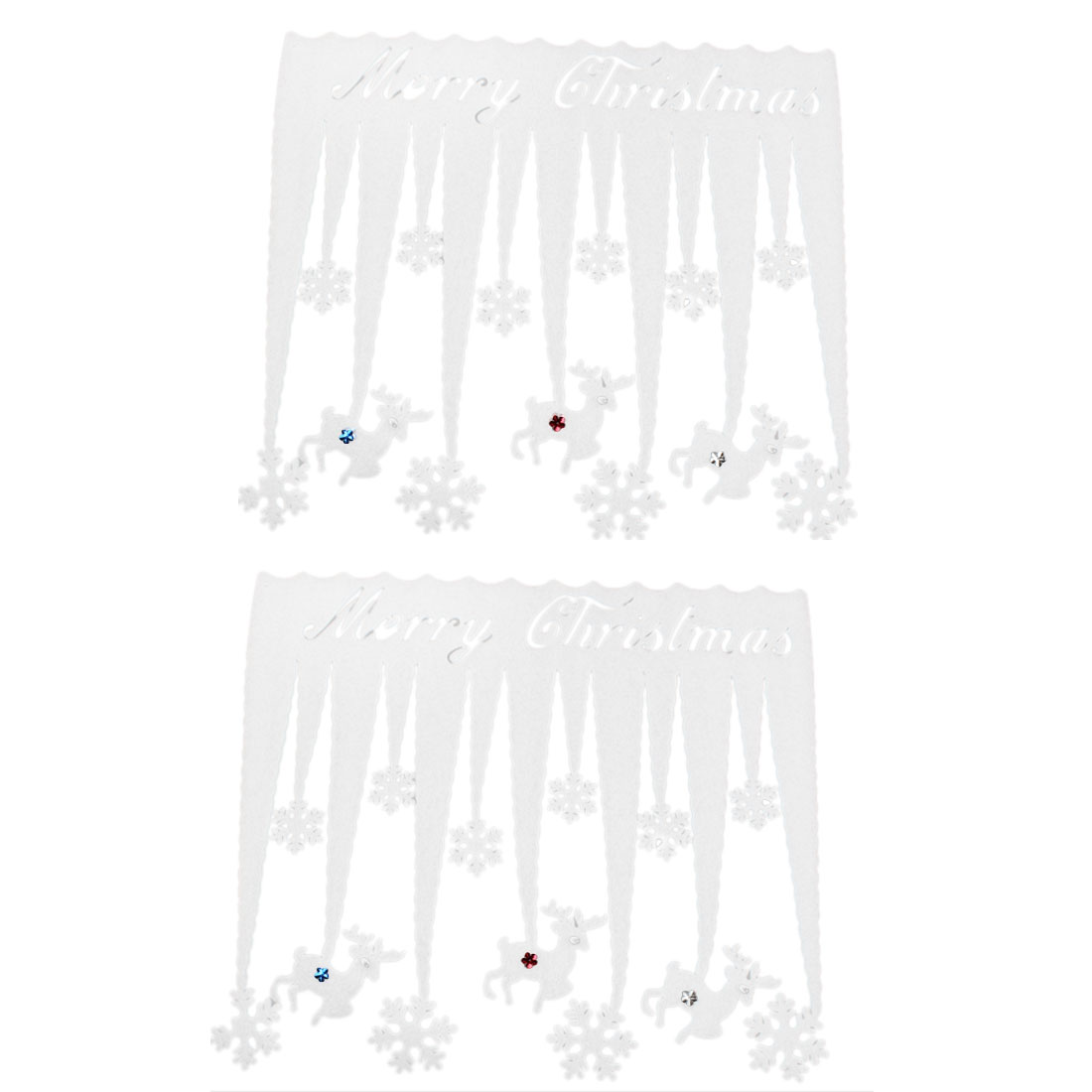 White Foam Christmas Reindeer Snowflake Design Xmas Stickers Wall Decals 2PCS