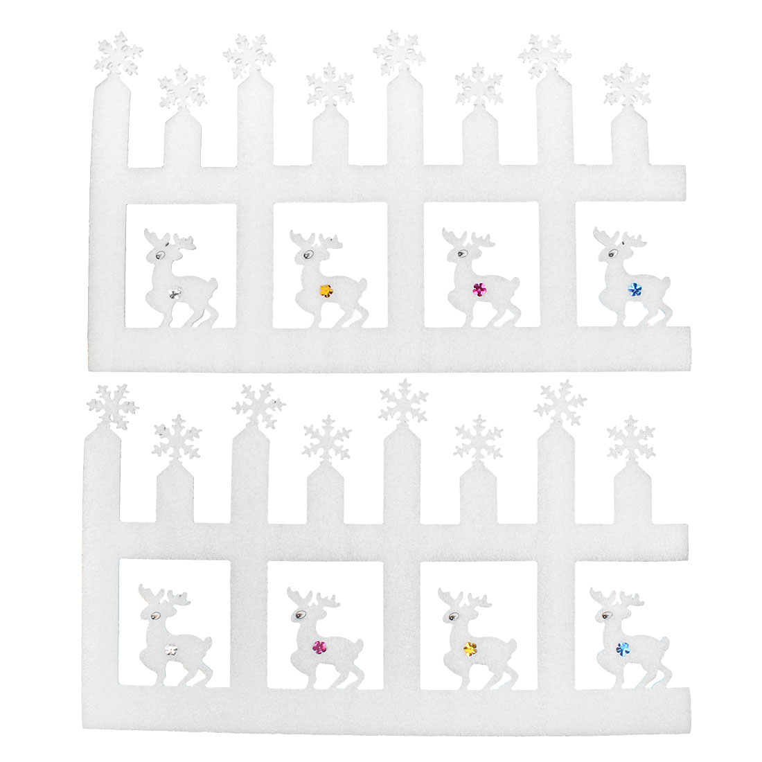 White Foam Christmas Reindeer Fence Design Xmas Stickers Home Wall Decals 2pcs