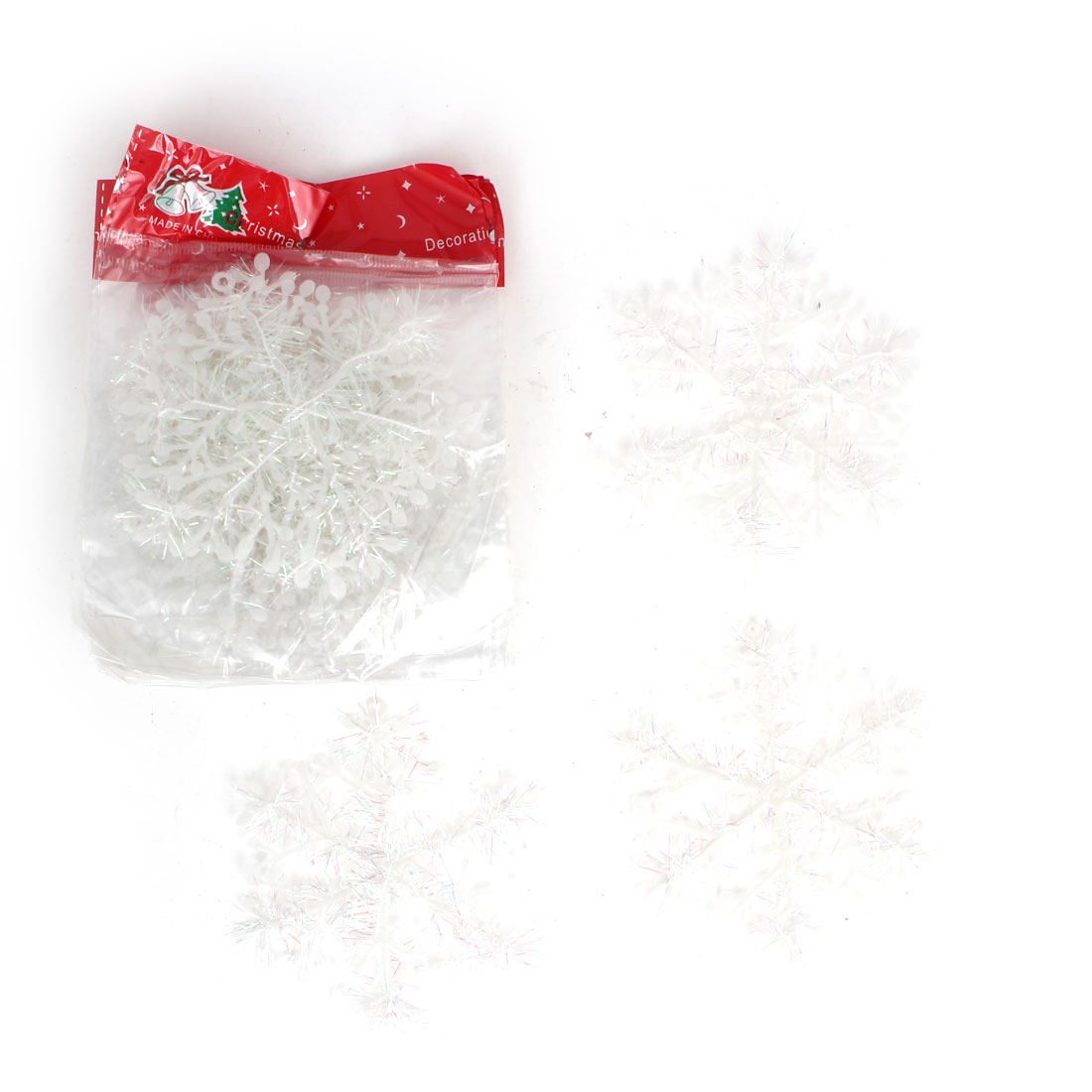 10pcs Plastic Xmas Snowflake Pendant White 11cm Dia for Christmas Tree Hanging Decor