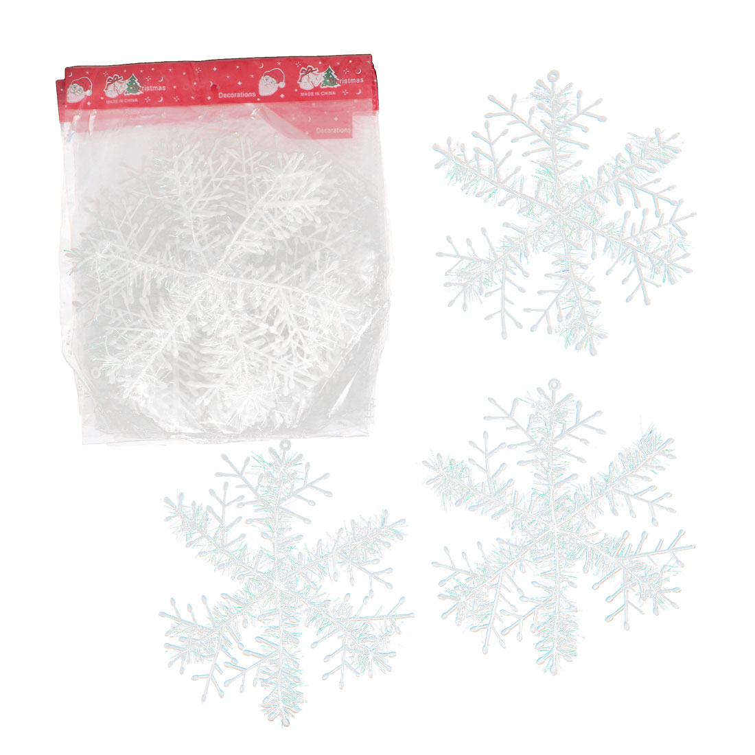 10pcs Plastic Xmas Snowflake Pendant White 22cm Dia for Christmas Tree Hanging Decor