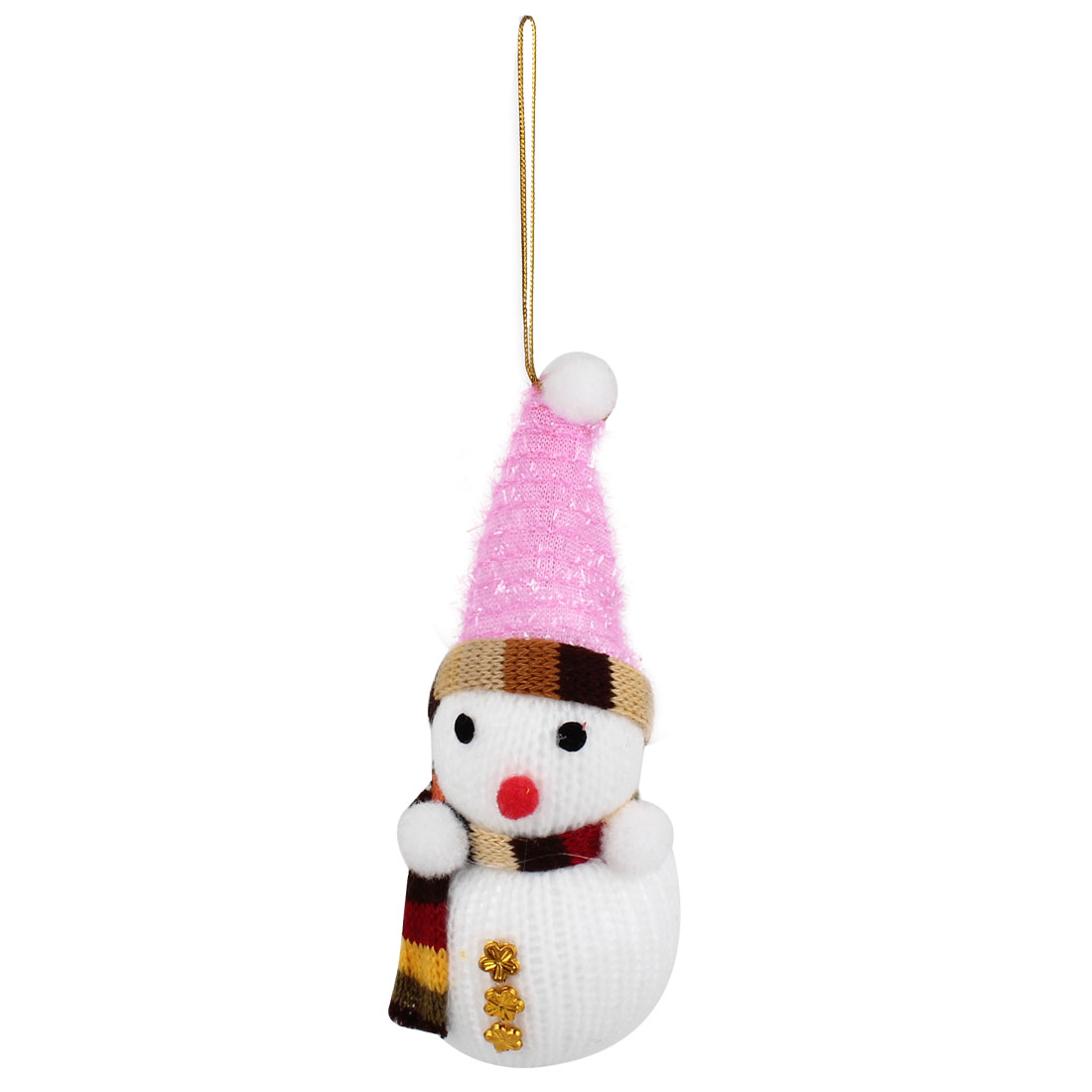 Pink Cap Accent Xmas Snowman Pendant White for Christmas Tree Dangling Decor