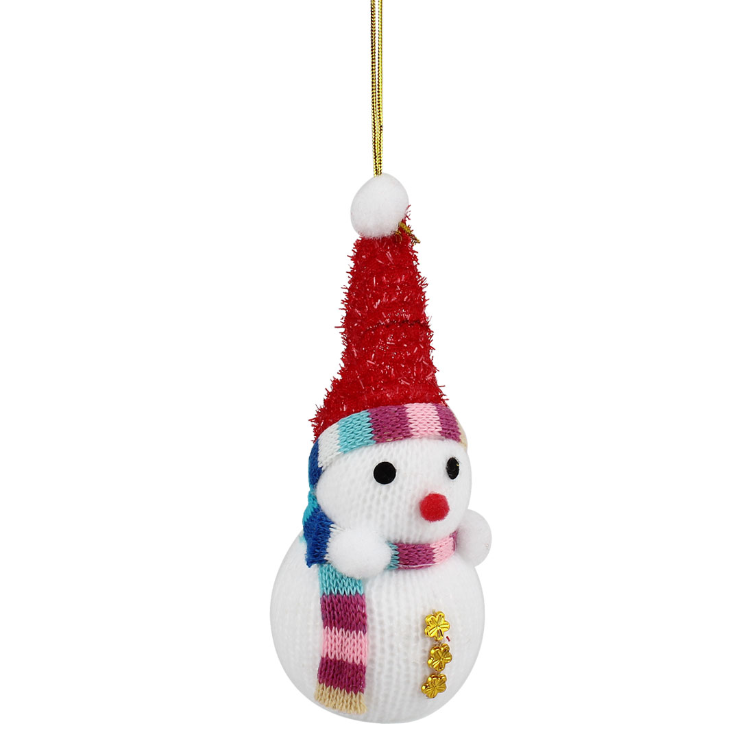 Red Cap Accent Xmas Snowman Pendant White for Christmas Tree Dangling Decor