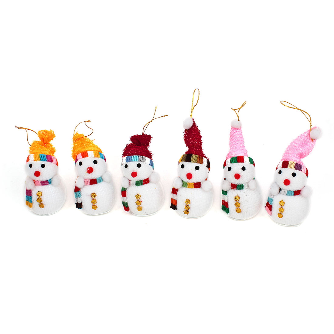 6pcs Scarf Cap Accent Xmas Snowman Pendant White for Christmas Tree Dangling Decor