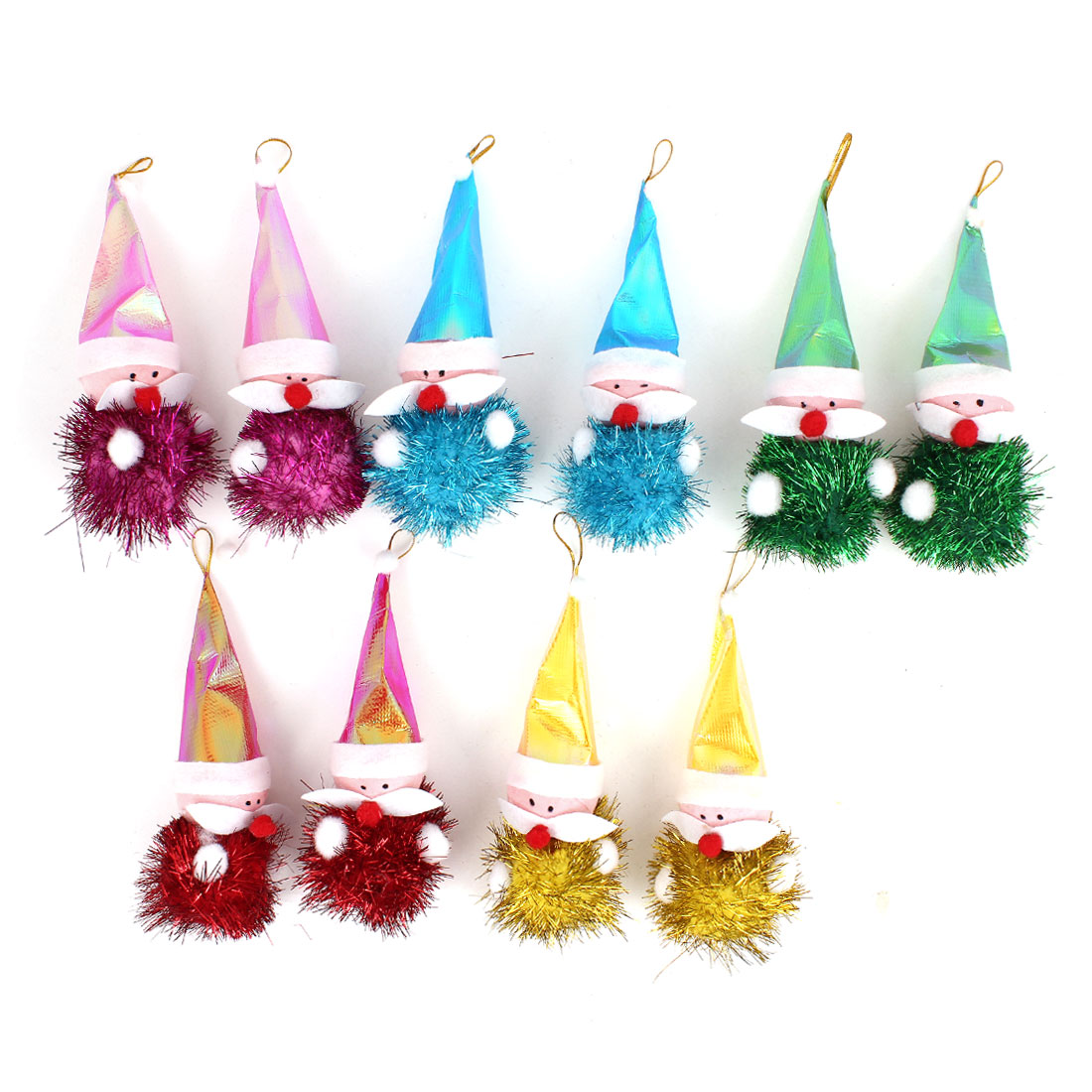 Long Pointed Cap Accent Xmas Santa Claus Pendant Colorful 10pcs for Christmas Tree Hanging Decor