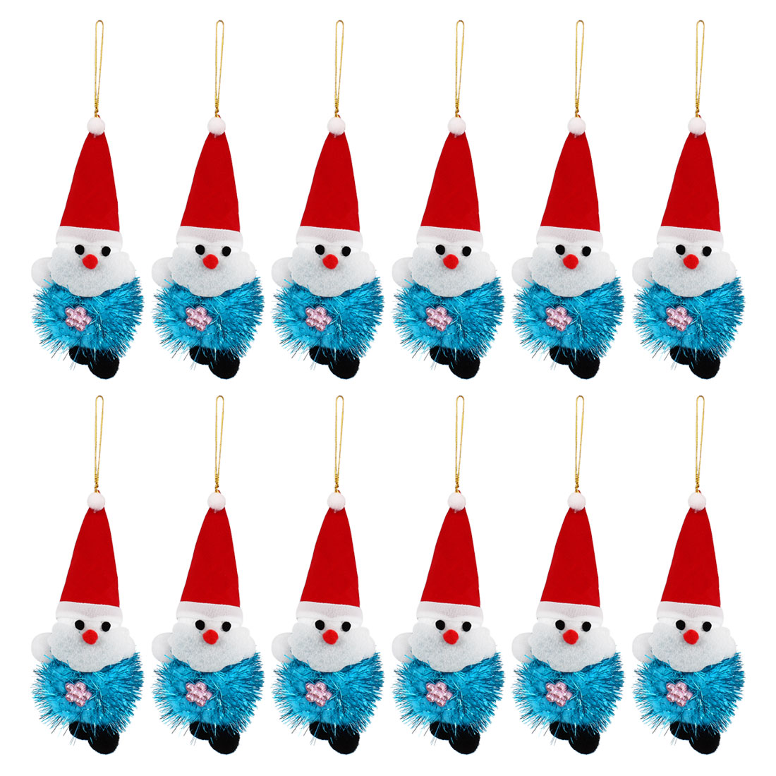 Red Pointed Cap Detail Xmas Santa Claus Pendant Blue 12pcs for Door Christmas Tree Hanging Decor