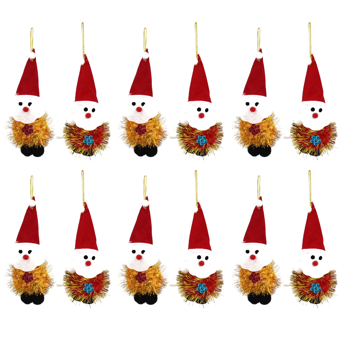 12PCS Red Long Pointed Cap Accent Xmas Santa Claus Pendant for Christmas Tree Dangling Decor
