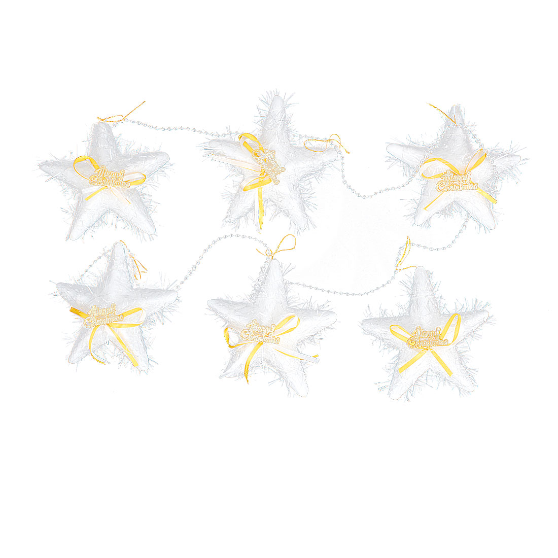 1M Plastic Beads Linking Yellow Bowknot Accent Pentagram Pendant White 6 in 1 for Christmas Tree Hanging Decor