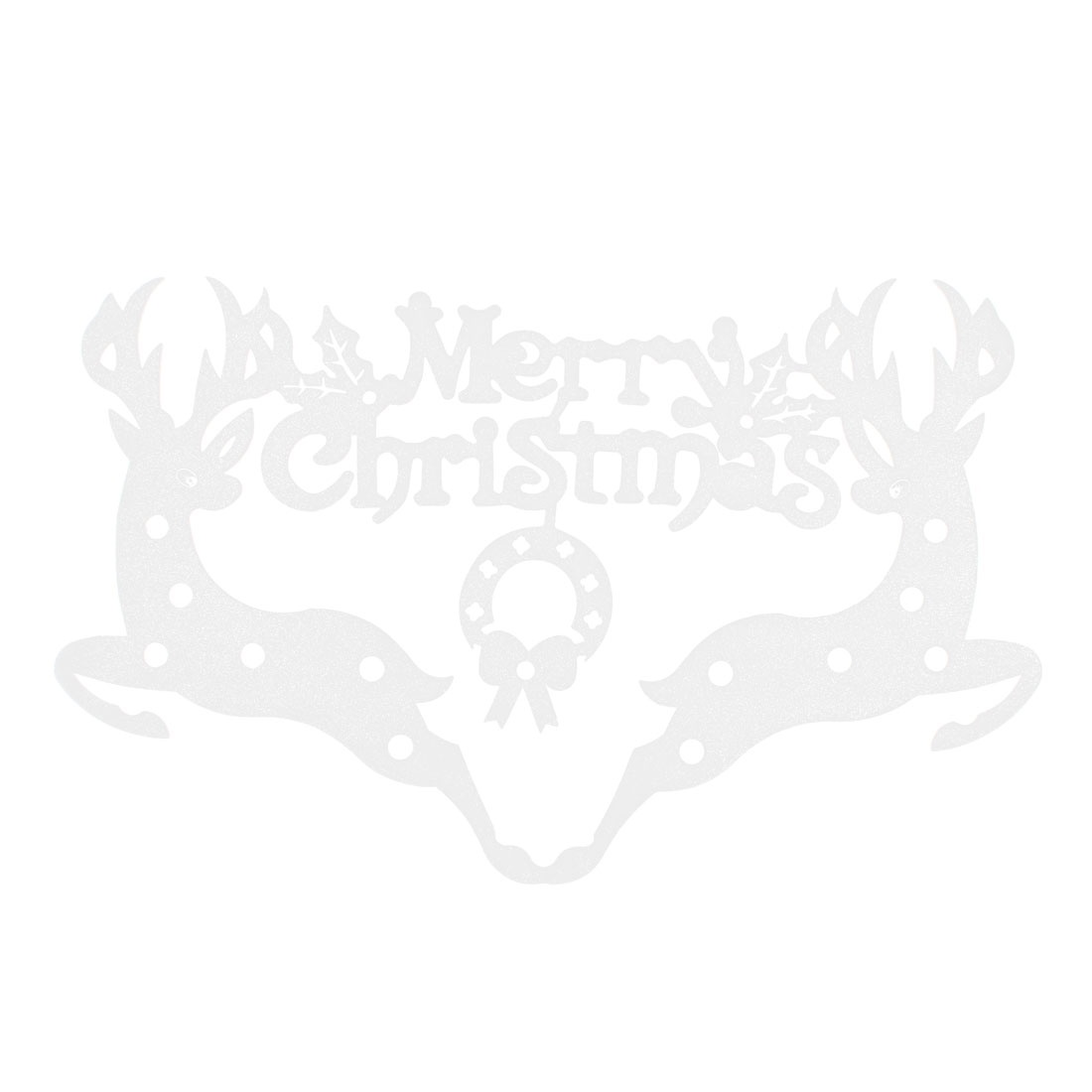 White Foam Christmas Dual Reindeer Design Xmas Stickers Wall Decals
