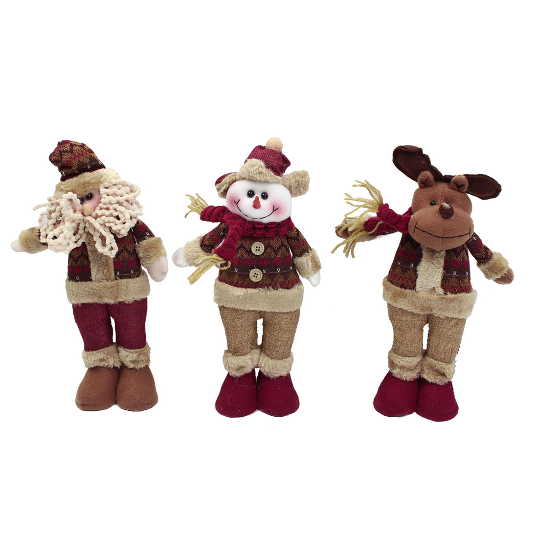 Santa Claus Snowman Reindeer Christmas Toy Gift 3 in 1 Set for Xmas Trees Decor