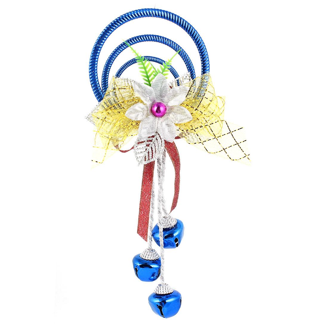 Bowknot Flowers Detail Plastic Rings Metal Bell Pendant Dark Blue for Christmas Xmas Tree Decor
