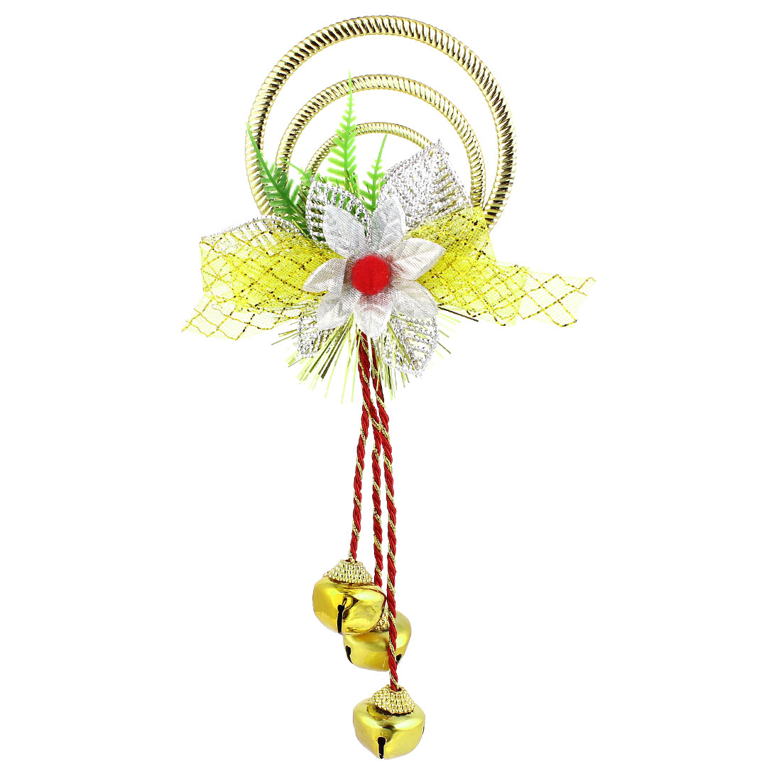 Bowknot Flowers Detail Plastic Rings Metal Bell Pendant Gold Tone for Christmas Xmas Tree Decor