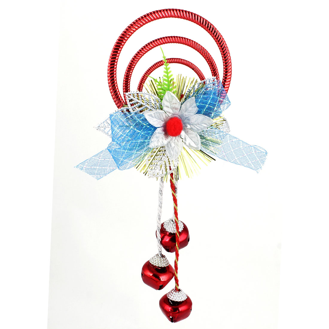 Blue Bowknot Detail Plastic Rings Metal Bell Pendant Burgundy for Christmas Xmas Tree Decor