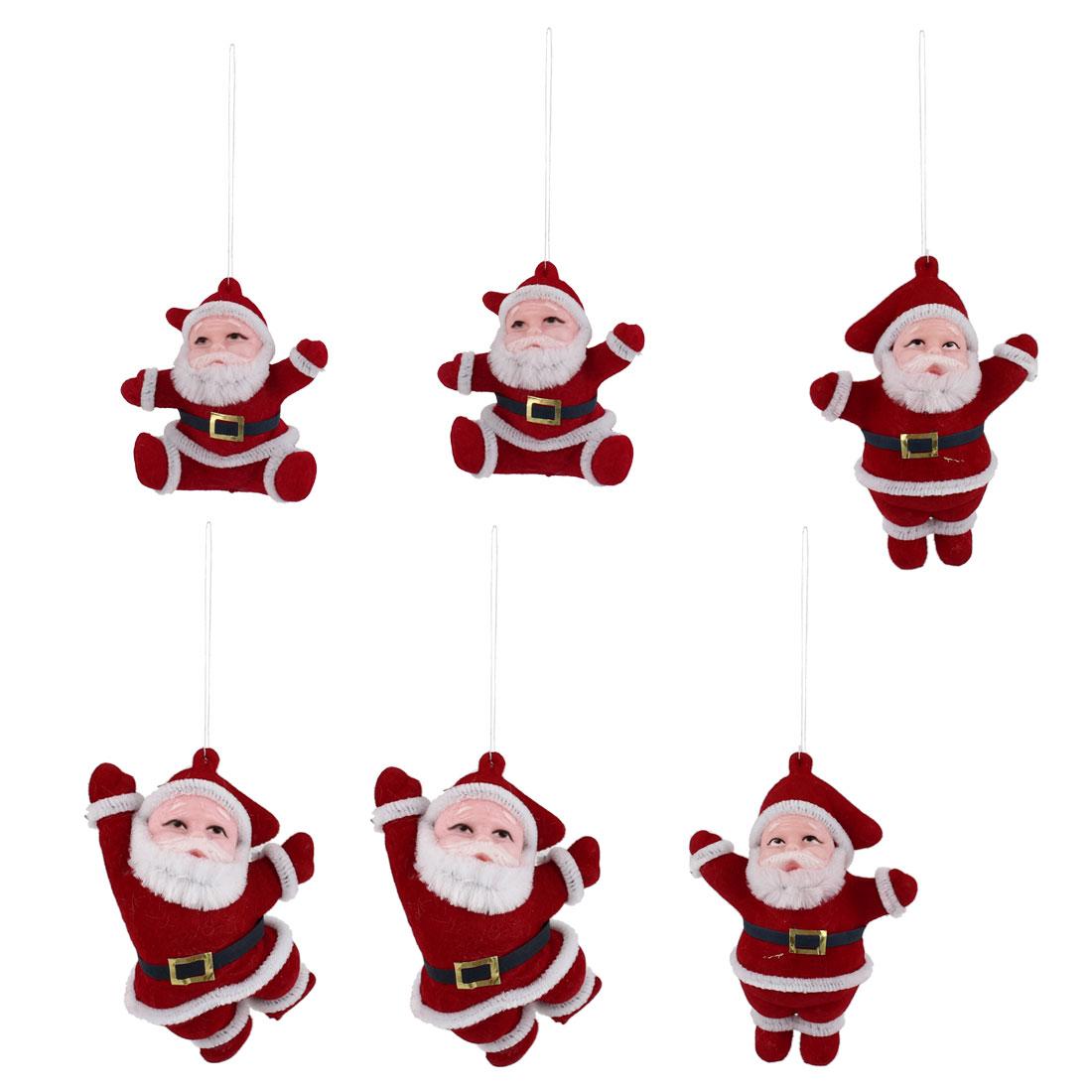 Christmas Xmas Tree Hanging Santa Claus Dangling Decor Red White 6pcs