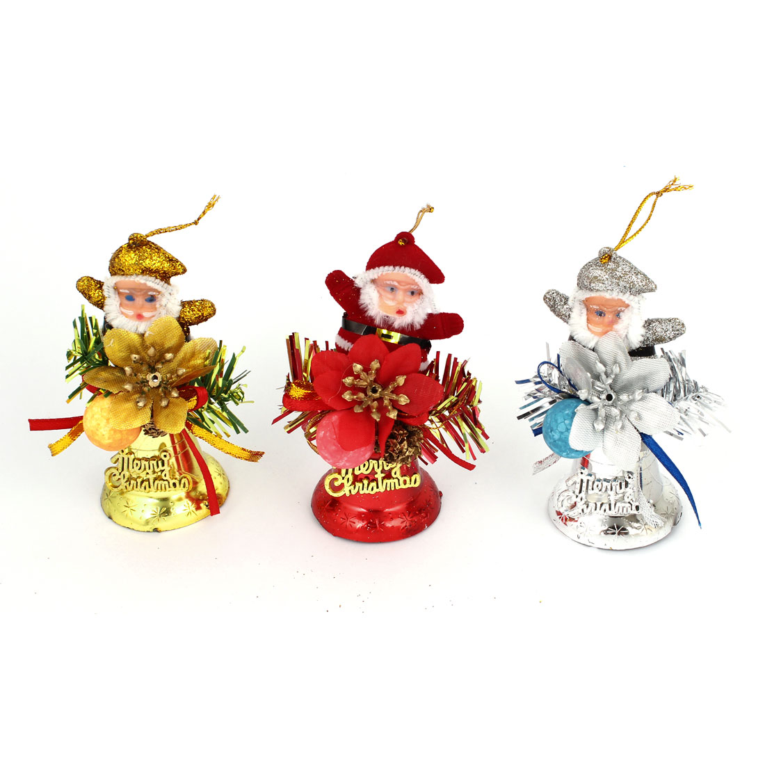 Christmas Xmas Tree Hanging Santa Claus Bells Dangling Ornament Red Silver Gold Tone 3pcs