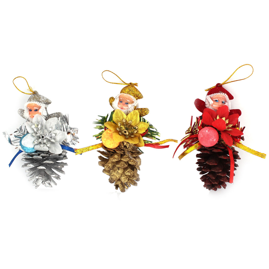 Christmas Tree Dangling Santa Claus Pine Cone Pendant Hanging Decor Red Silver Gold Tone 3pcs