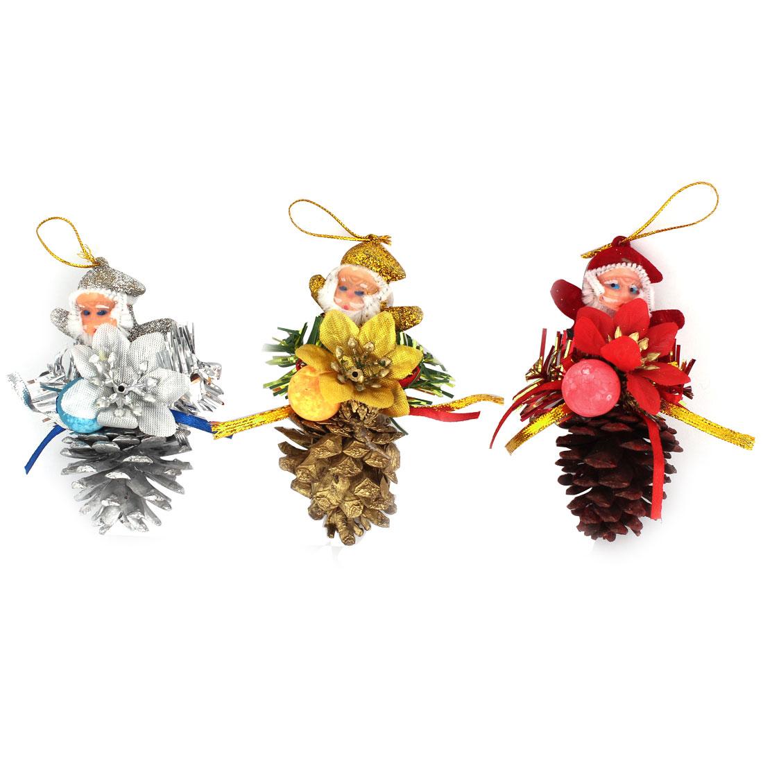 Christmas Tree Dangling Santa Claus Pine Cone Pendant Hanging Decor Red Silver Gold Tone 3pcs