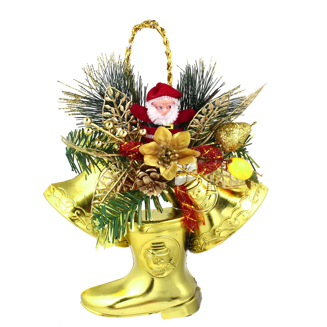 Christmas Xmas Trees Hanging Decor Santa Claus Bell Shoes Pendant Gold Tone