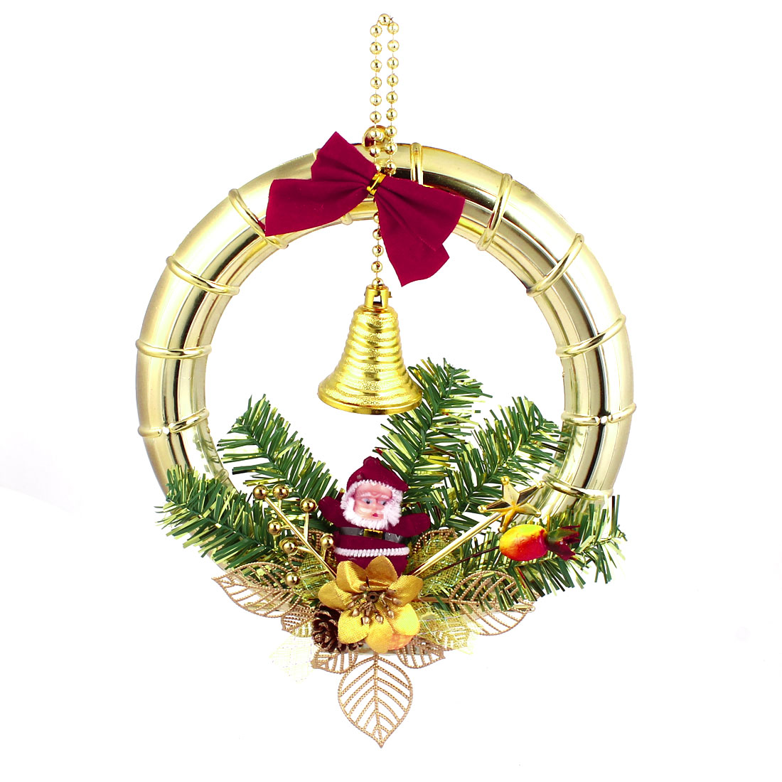Xmas Trees Hanging Bowtie Santa Claus Metal Bell Accent Christmas Wreath Ring Gold Tone