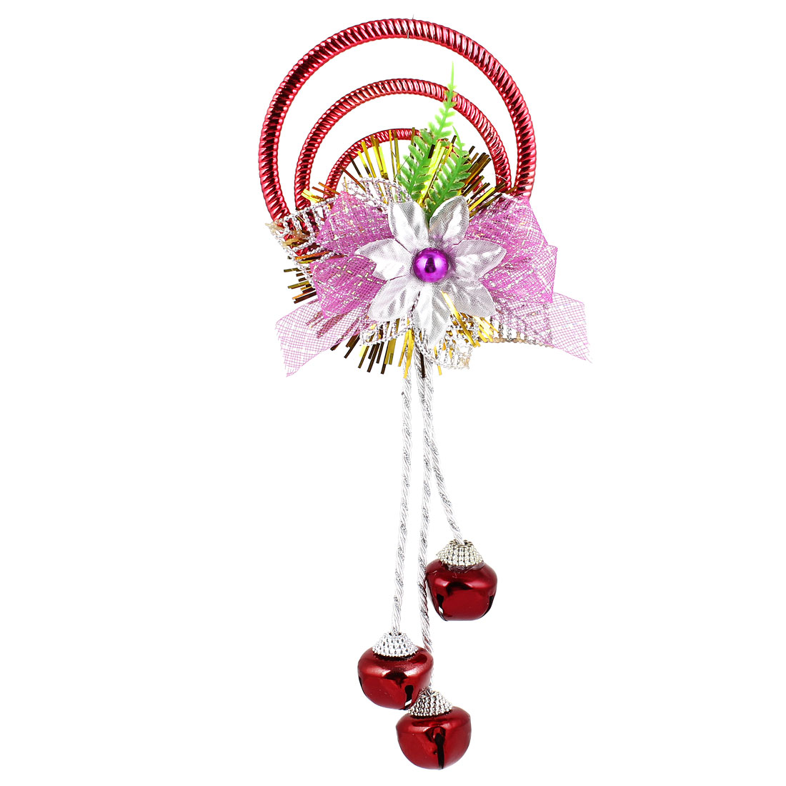 Bowknot Flowers Detail Plastic Rings Metal Bell Pendant Burgundy for Christmas Xmas Tree Decor