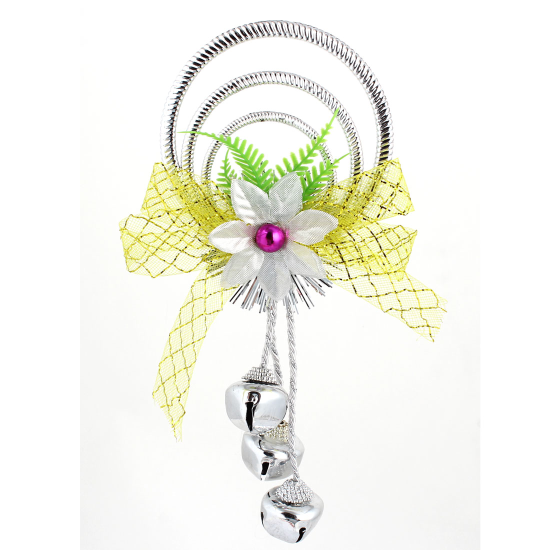 Bowknot Flowers Detail Plastic Rings Metal Bell Pendant Silver Tone for Christmas Xmas Tree Decor