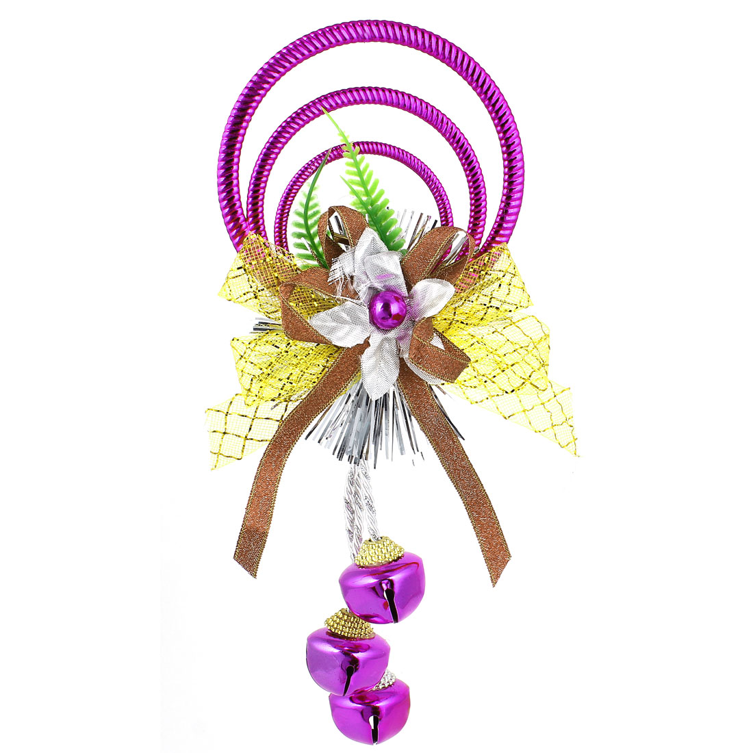 Bowknot Flowers Detail Plastic Rings Metal Bell Pendant Purple for Christmas Xmas Tree Decor