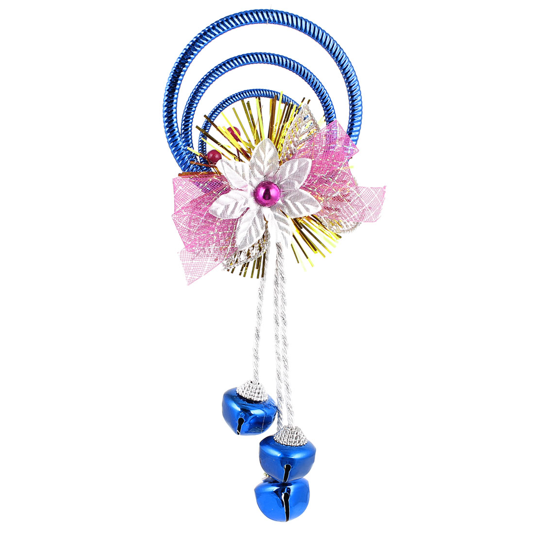 Bowknot Flowers Detail Plastic Rings Metal Bell Pendant Dark Blue for Christmas Xmas Tree Decor