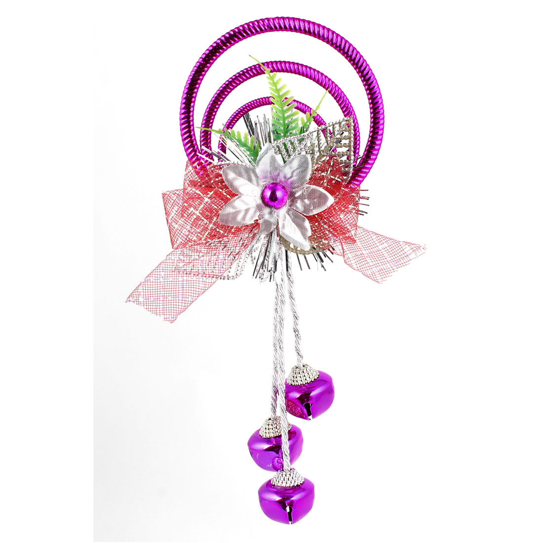 Bowknot Leaves Detail Plastic Rings Metal Bell Pendant Purple for Christmas Xmas Tree Decor