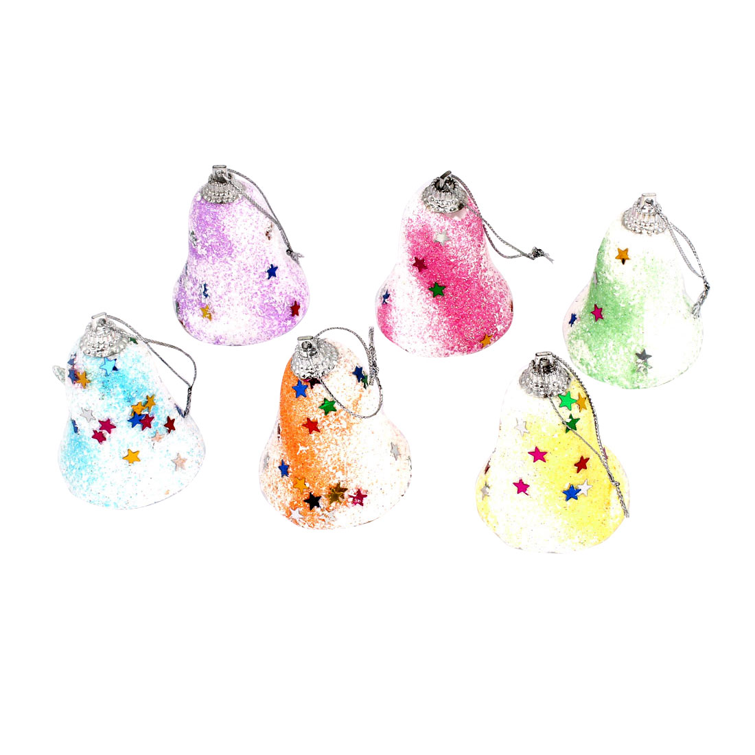 6 Pcs Assorted Color Glittery Jingle Bells Pendant 5cm Height for Xmas Christmas Tree Ornament