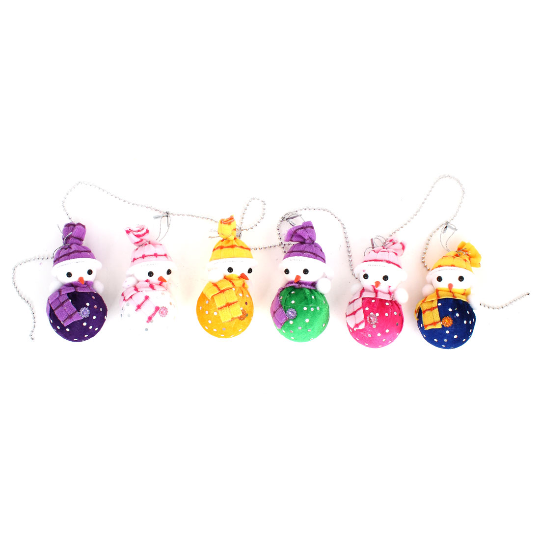 1.3M Plastic Beads Linking Xmas Snowman Pendant 6 in 1 Set for Door Christmas Tree Hanging Decor