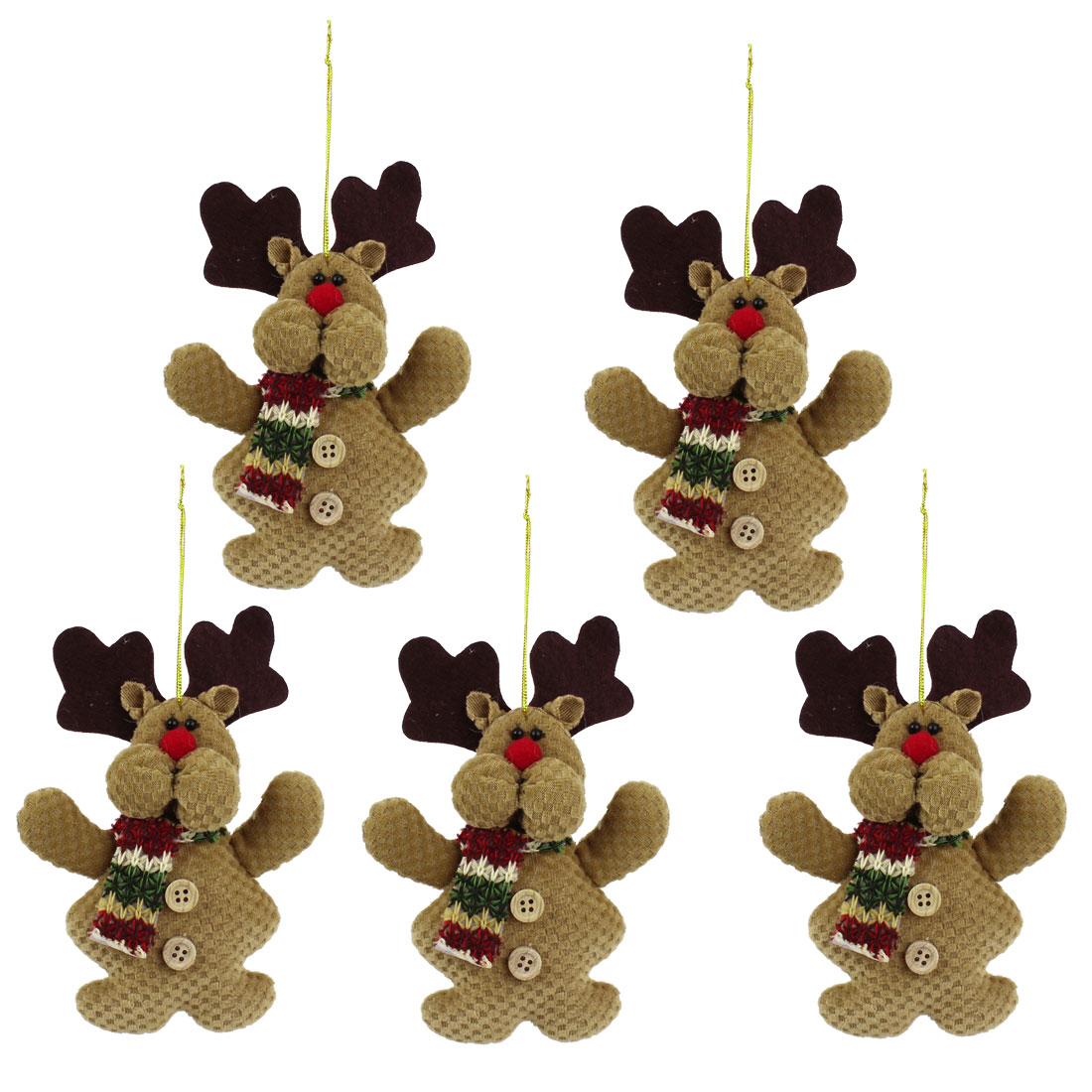 5pcs Knitware Scarf Accent Xmas Reindeer Pendant Coffee Color for Door Christmas Tree Hanging Decor