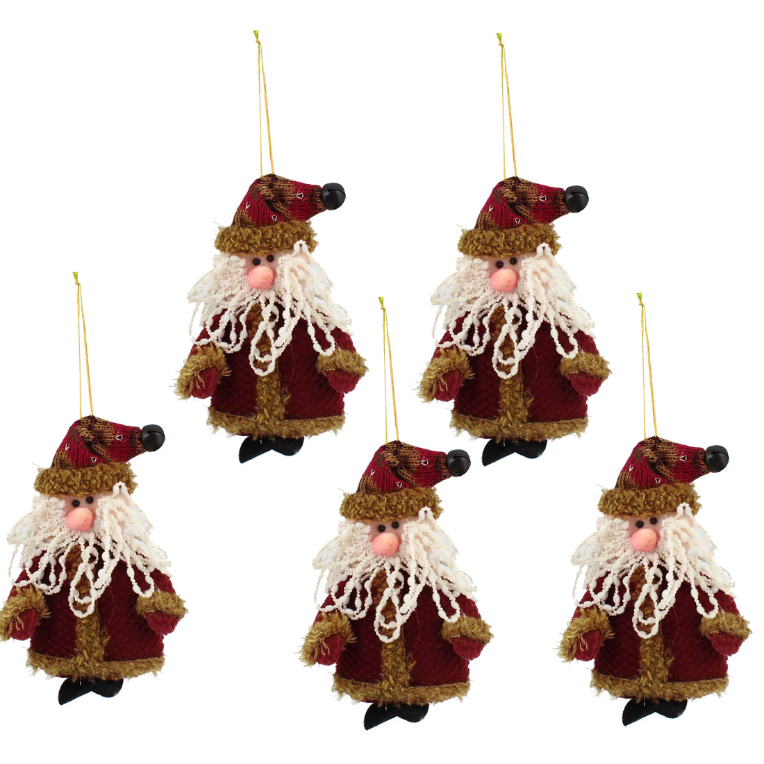 Bell Cap Accent Xmas Santa Claus Pendant 5pcs for Door Christmas Tree Hanging Decor