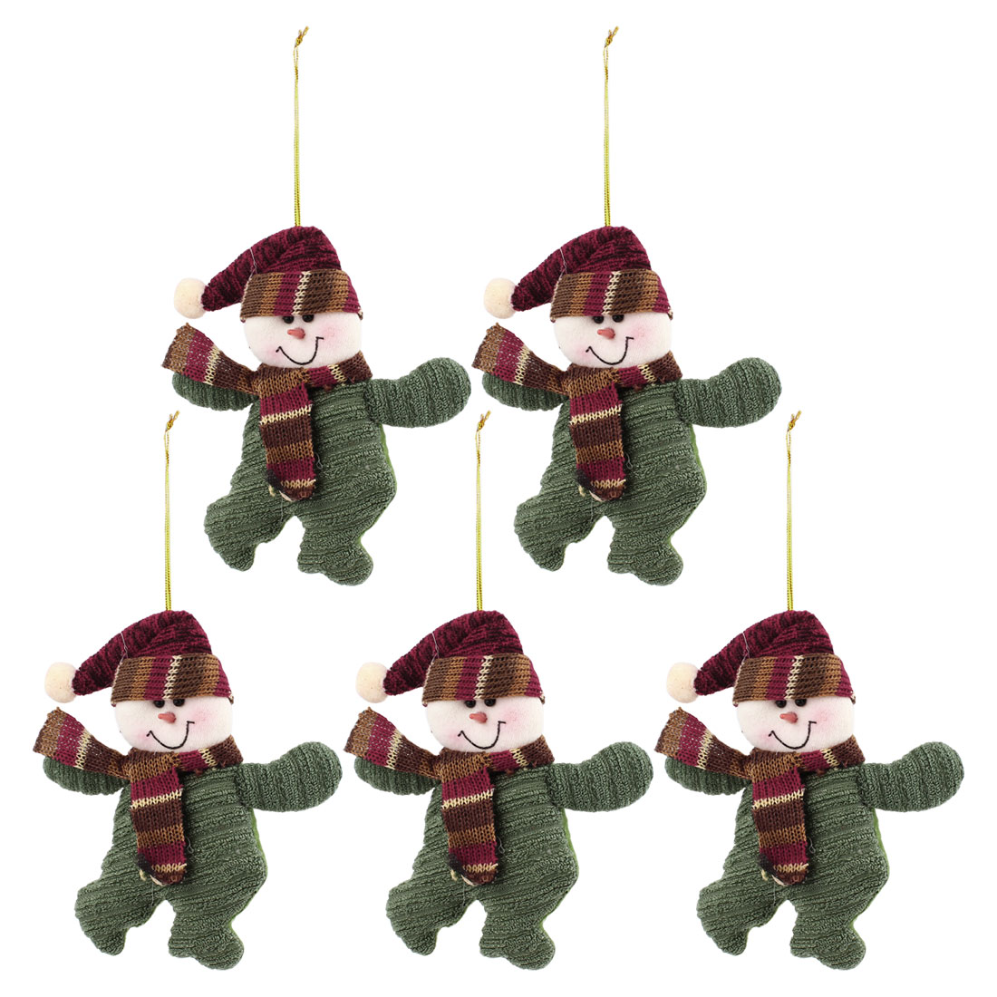 Long Pointed Cap Accent Xmas Snowman Pendant Olive Green 5pcs for Door Christmas Tree Hanging Decor