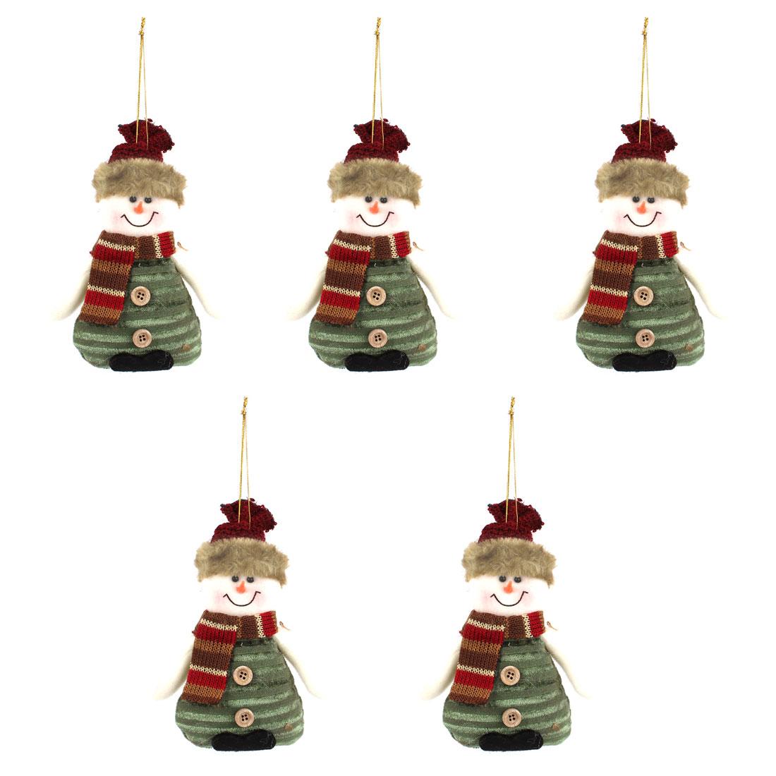 Scarf Cap Accent Xmas Snowman Pendant Olive Green 5pcs for Door Christmas Tree Hanging Decor