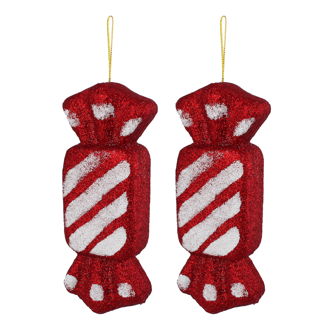 2 Pcs Glittery Hanging Christmas Candy Confectionery Pendant Burgundy for Xmas Tree Decor