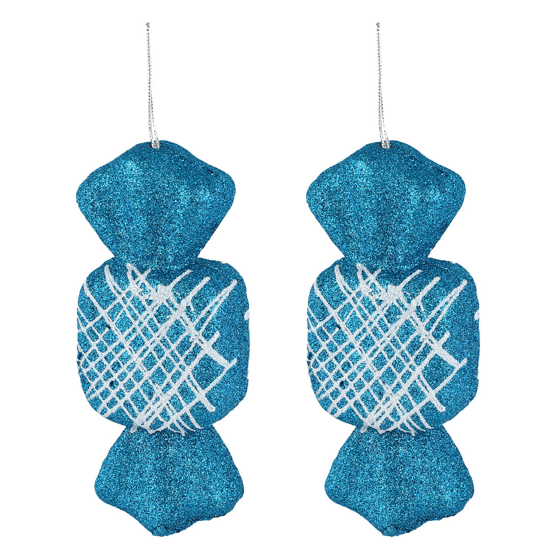2 Pcs Glittery Hanging Christmas Candy Confectionery Pendant Cyan for Xmas Tree Decor