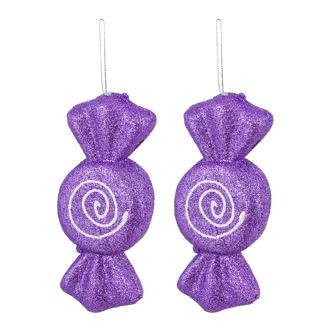 2 Pcs Glittery Hanging Christmas Candy Confectionery Pendant Purple for Xmas Tree Decor