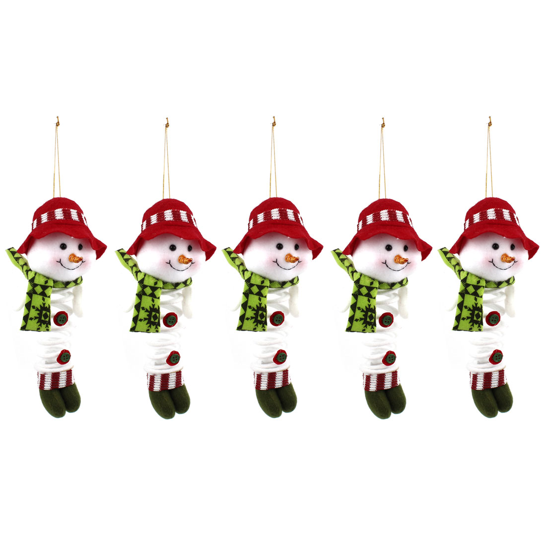 Scarf Cap Accent Xmas Snowman Pendant Red White Green 5pcs for Door Christmas Tree Hanging Decor