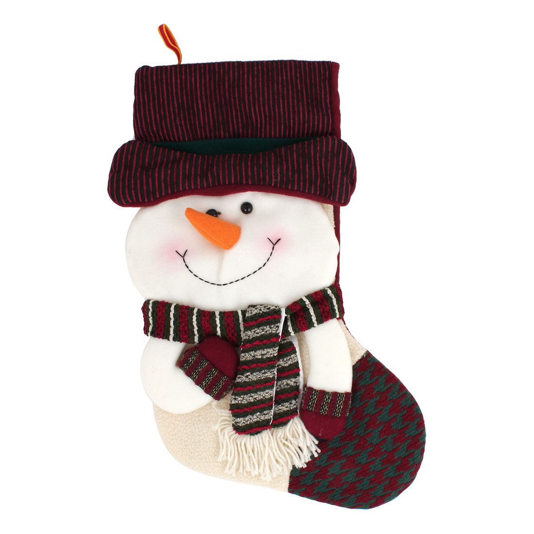27cm x 43cm Xmas Snowman Detail Felt Christmas Stocking Gift Holder Burgundy White Green