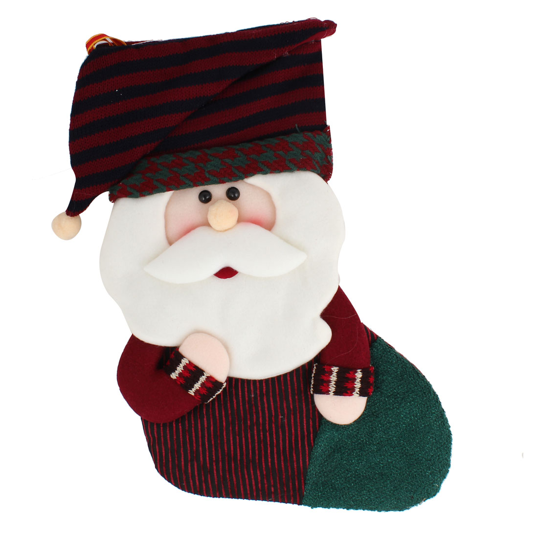 27cm x 43cm Xmas Santa Claus Detail Felt Christmas Stocking Gift Holder Burgundy White Green