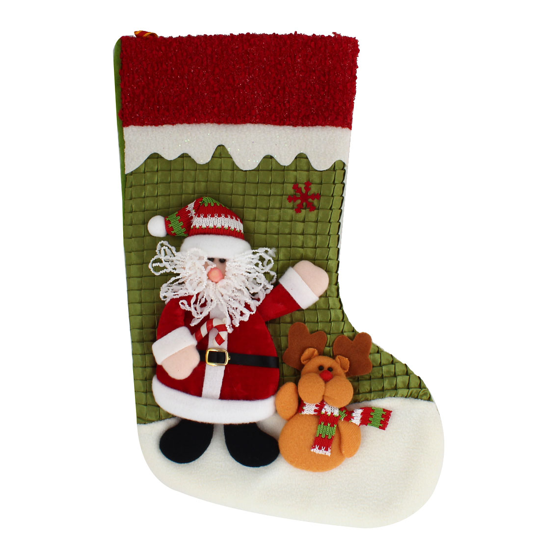27cm x 43cm Xmas Santa Claus Reindeer Detail Felt Christmas Stocking Gift Holder Red Green White