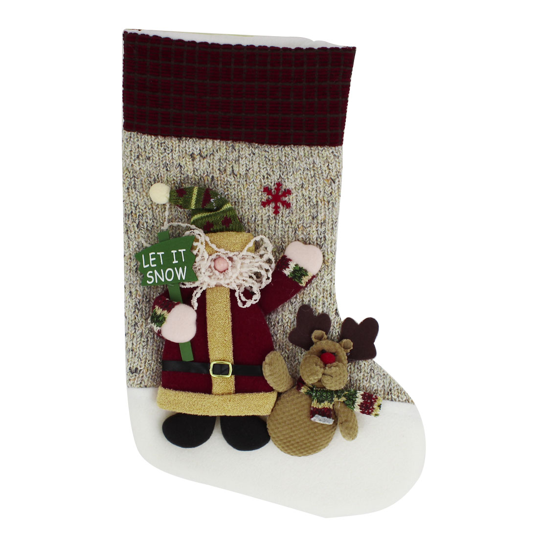 27cm x 43cm Xmas Santa Claus Detail Felt Christmas Stocking Gift Holder Assorted Color