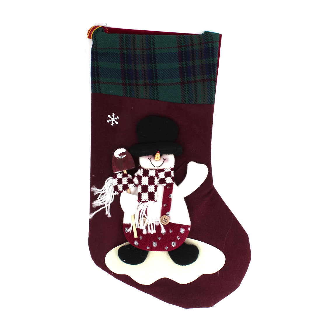 27cm x 43cm Xmas Snowman Detail Felt Christmas Stocking Gift Holder Burgundy Green