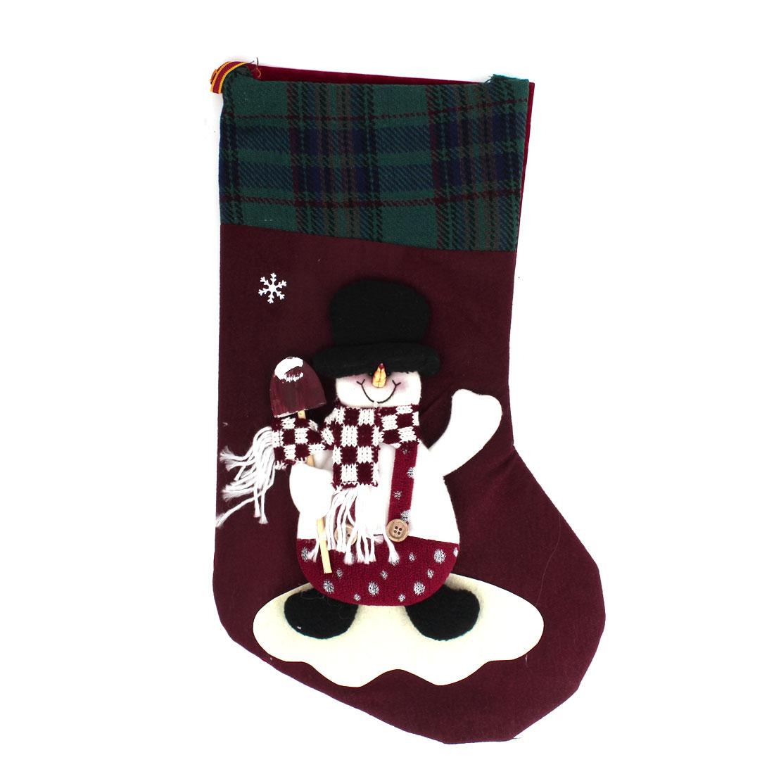 27cm x 43cm Xmas Snowman Detail Felt Christmas Stocking Gift Holder Burgundy Green