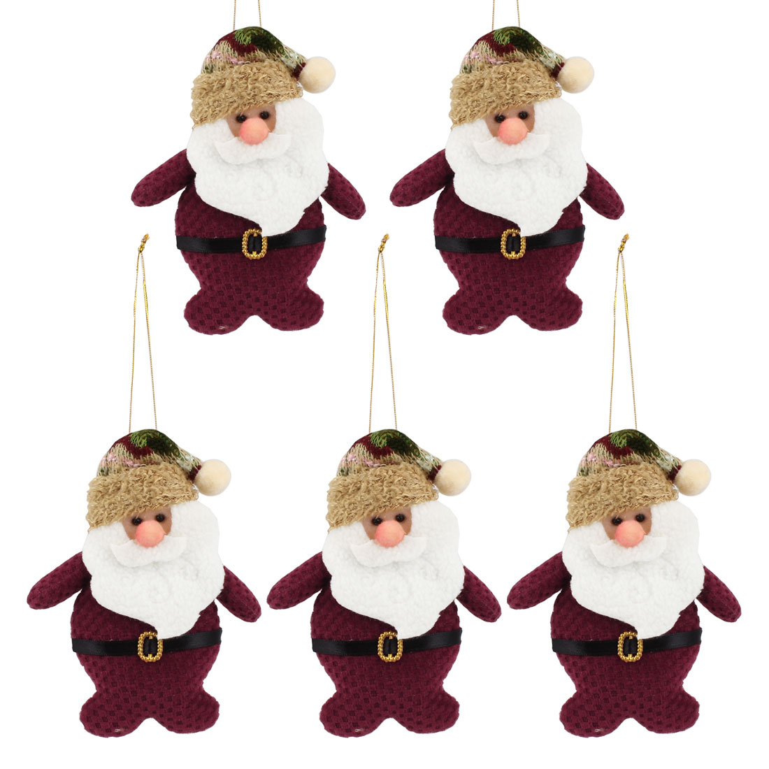 Long Pointed Cap Accent Xmas Santa Claus Pendant Burgundy 5pcs for Door Christmas Tree Hanging Decor