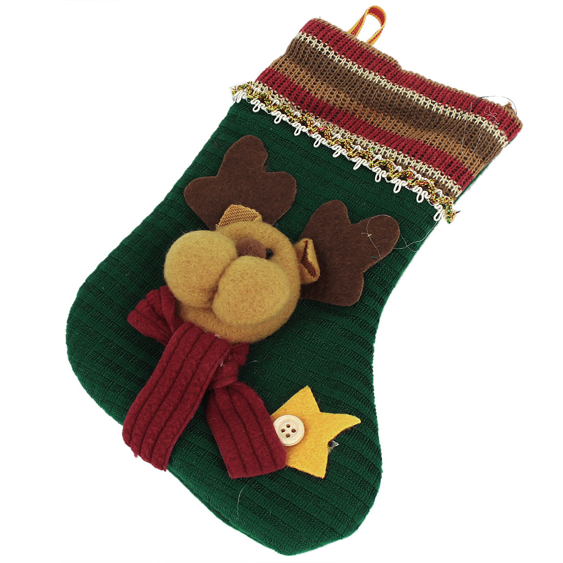 Christmas Tree Danging Decor Reindeer Head Accent Socks Pendant Green
