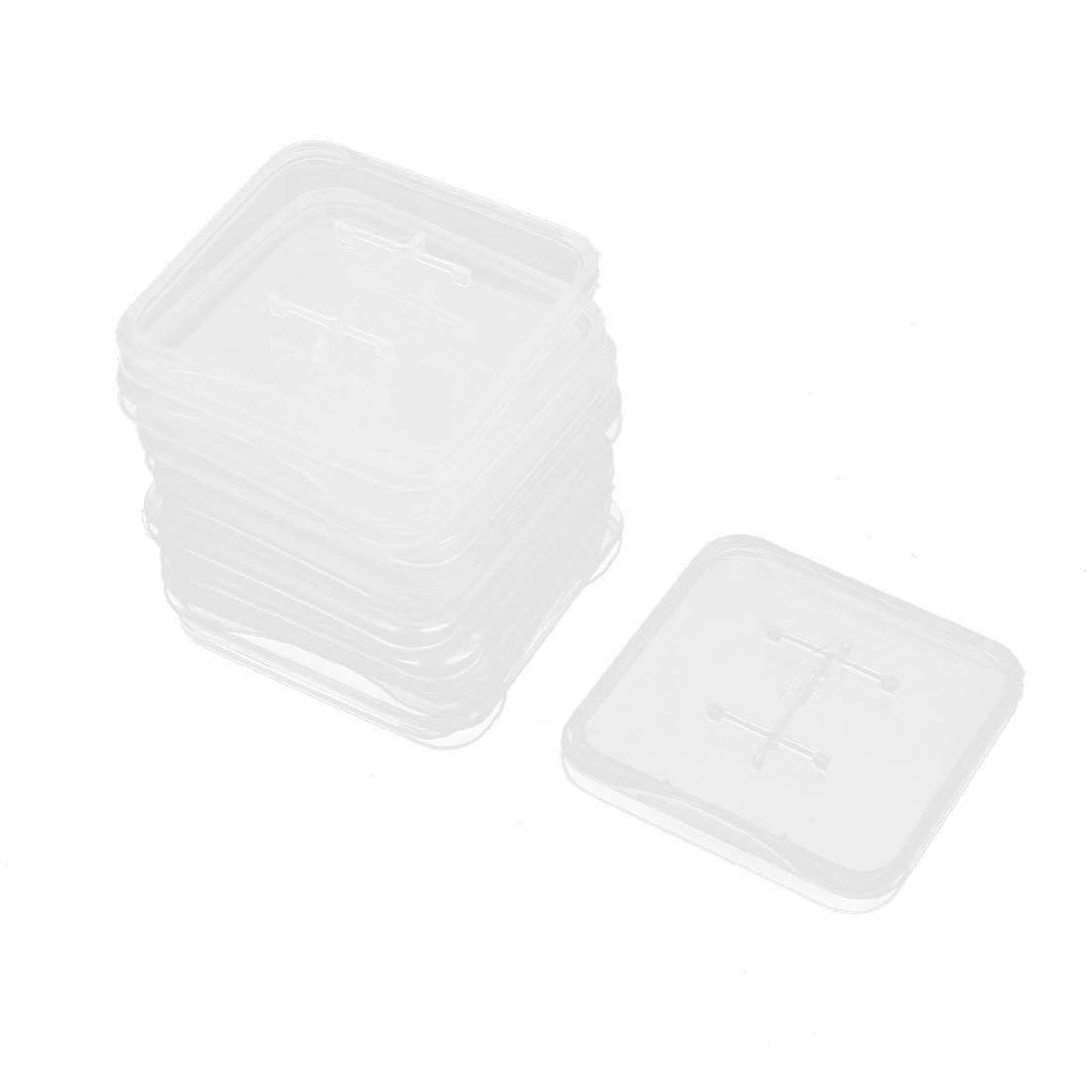 Cellphone Camera Memory TF SD SIM Card Clear White Plastic Storage Box Container 10pcs