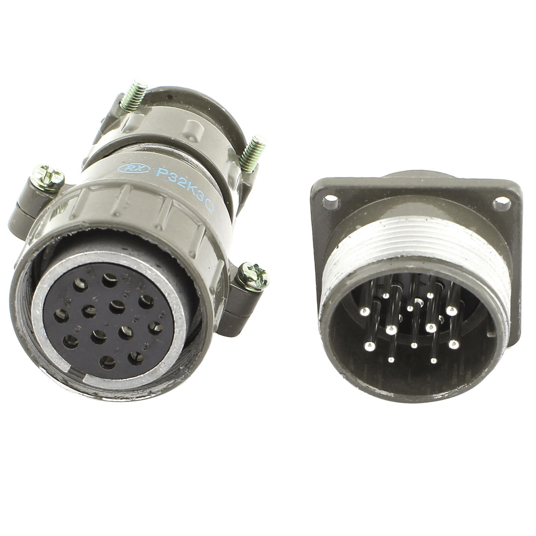 P32K3Q Metal Housing 12Pin Aviation Plug Male Female Connector AC 660V 20A