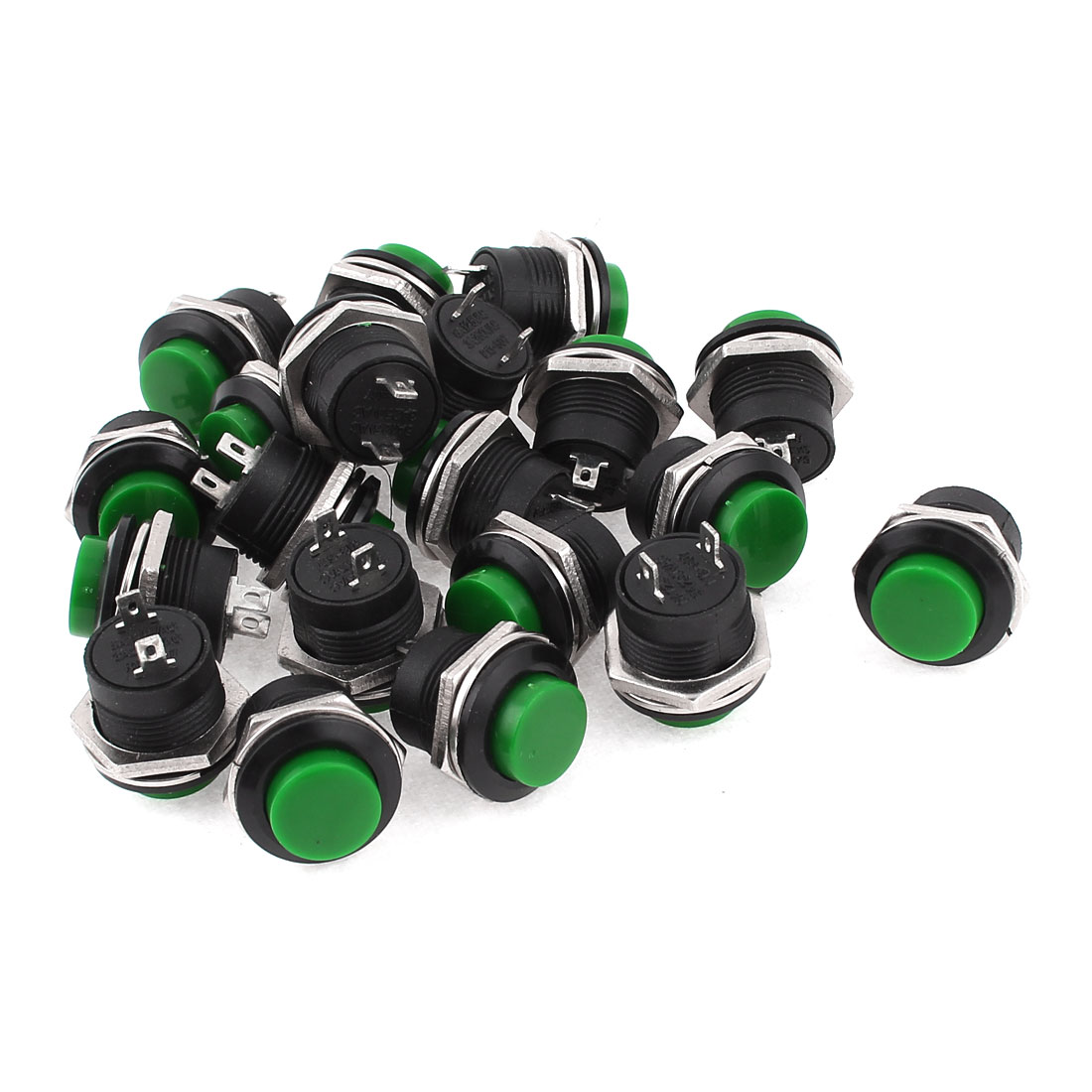 20 Pcs R13-507 2 Terminals SPST Momentary Green Push Button Switch AC 125V/6A 250V/3A