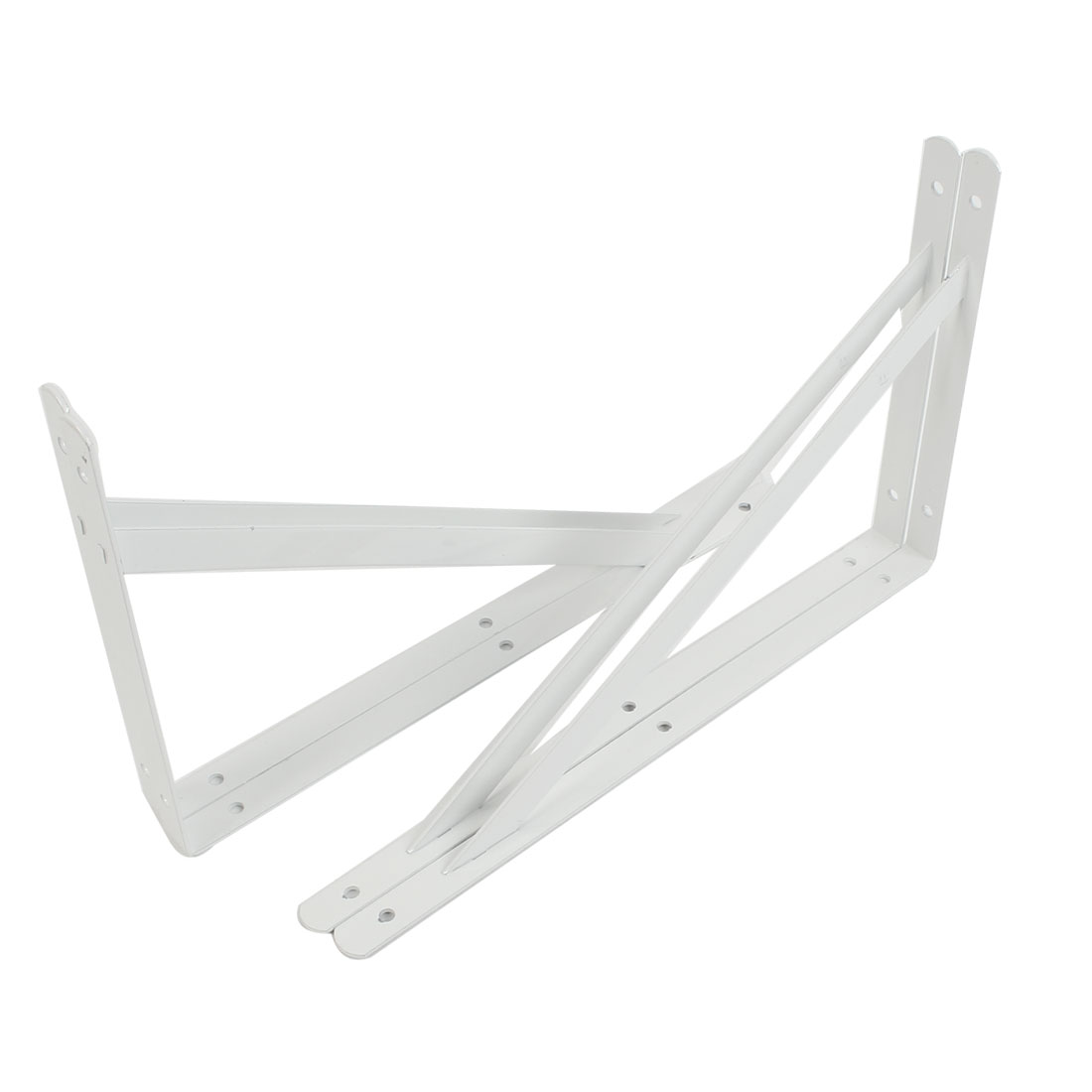 4 Pcs White 90 Degree Shop Store Wall Mounted Shelf Brackets 30cm x 19cm