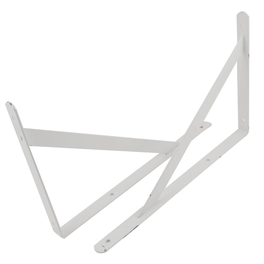 "2 Pcs White Right Angle Book Goods Wall Mounted Shelf Brackets 16"" x 10"""